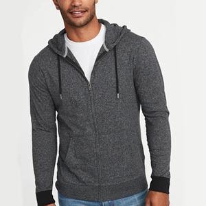 Image of Lightweight Jersey Zip Hoodie for Men