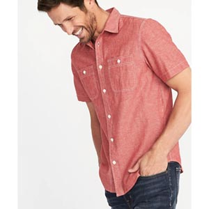 Image of Slim-Fit Chambray Shirt For Men