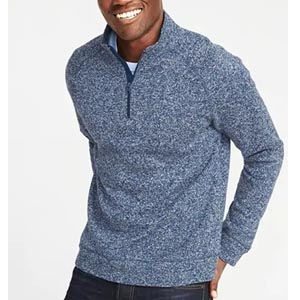 Image of Mock-Neck 1/4-Zip Sweater-Fleece Pullover for Men