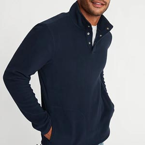 Image of Micro Performance Fleece 1/4-Snap Mock-Neck Pullover for Men