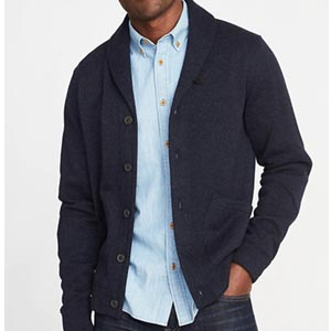 Image of Shawl-Collar Sweater-Fleece Cardigan for Men