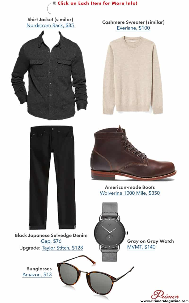 shirt jacket cpo outfit idea neutral men