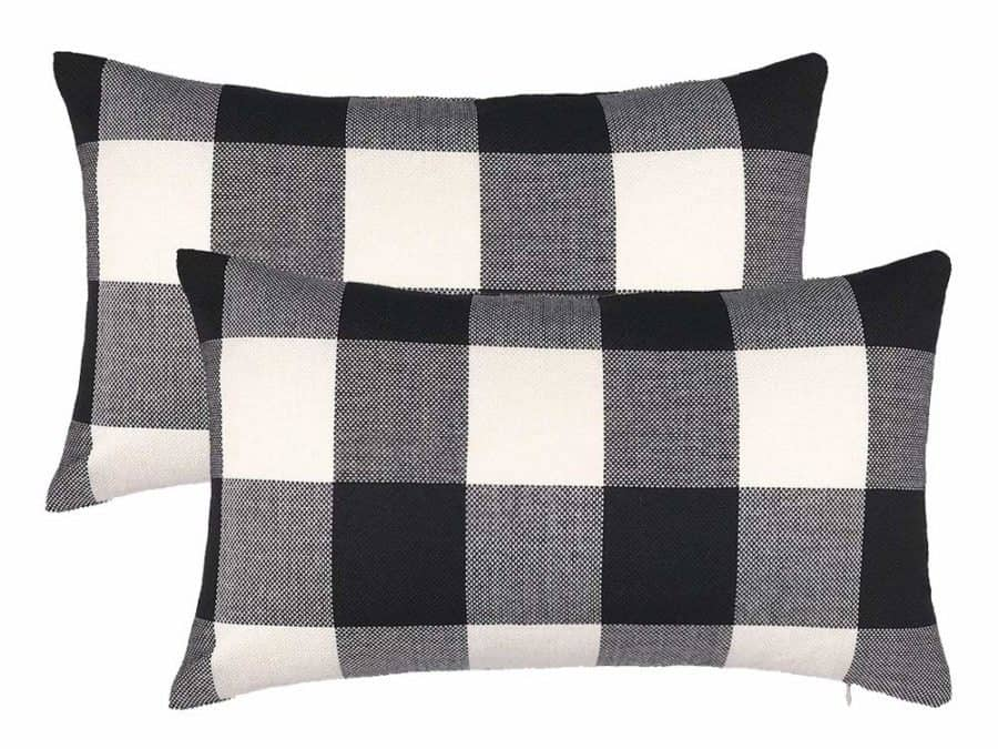 Image of 4TH Emotion 12x20 Inchs Black White Buffalo Check Plaids Throw Pillow Case Cushion Cover Home Decor Cotton Linen for Sofa, Pack of 2