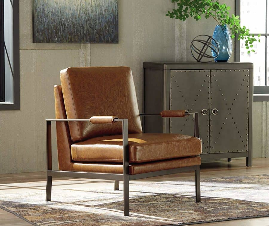 Image of Ashley Furniture Signature Design   Peacemaker Accent Chair   Mid Century Modern   Brown   Antique Brass Legs
