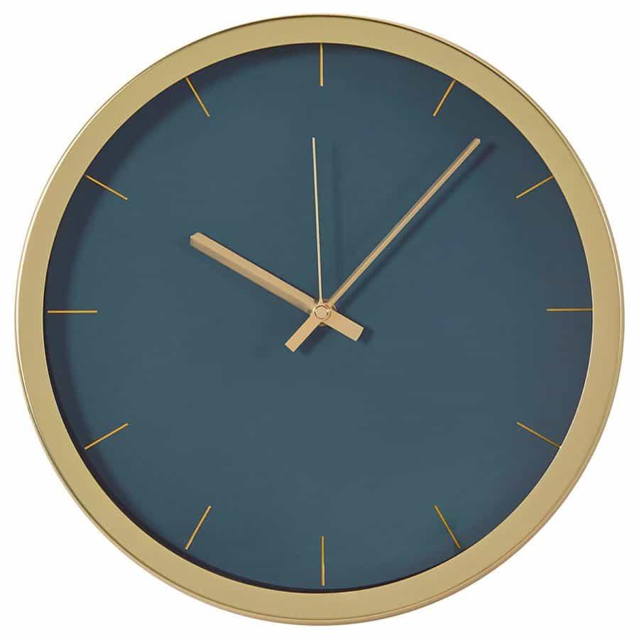 """Image of Rivet Modern Brass Clock, 12""""H, Green"""