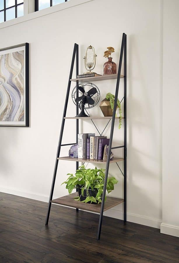 Image of ClosetMaid 1316 4 Tier Wood Ladder Shelf Bookcase, Gray