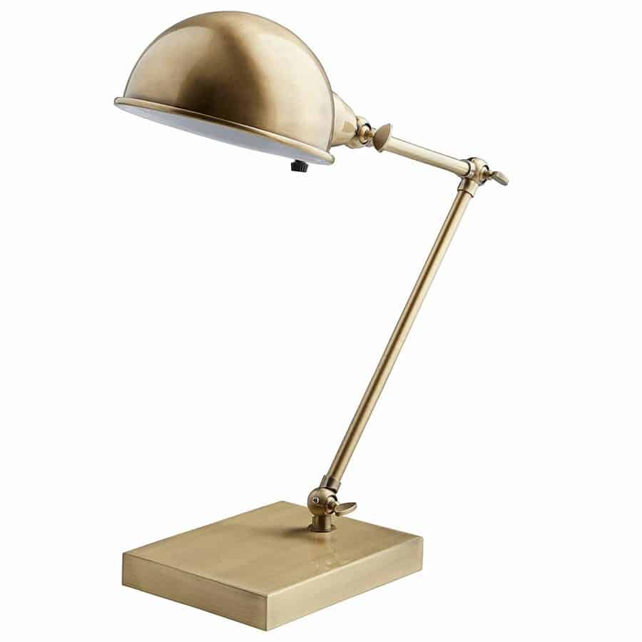 "Image of Stone & Beam Vintage Task Lamp With Bulb, 14""H, Antique Brass"
