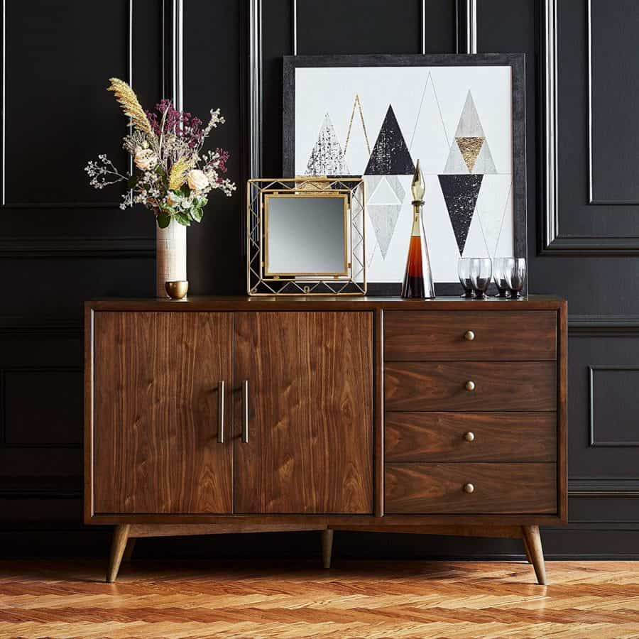 Image of Rivet Federal Mid Century Modern Wood Buffet, Brown