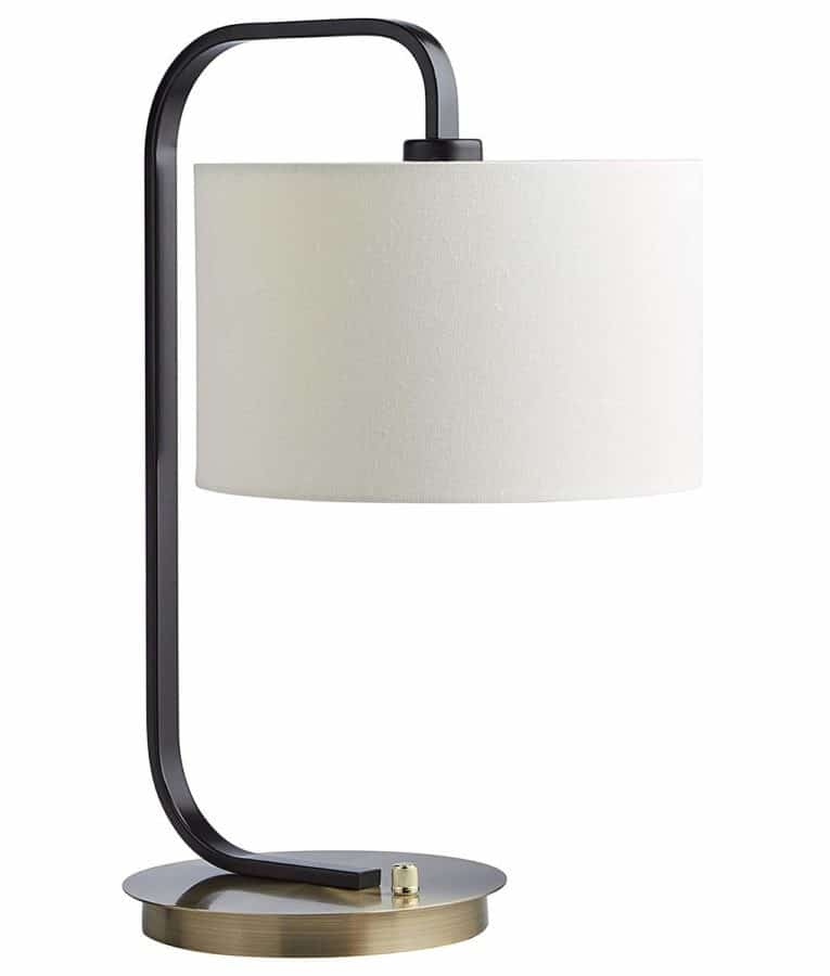 "Image of Stone & Beam Modern Table Lamp, 20.5""H, With Bulb, Black and Brushed Brass with Linen Shade"