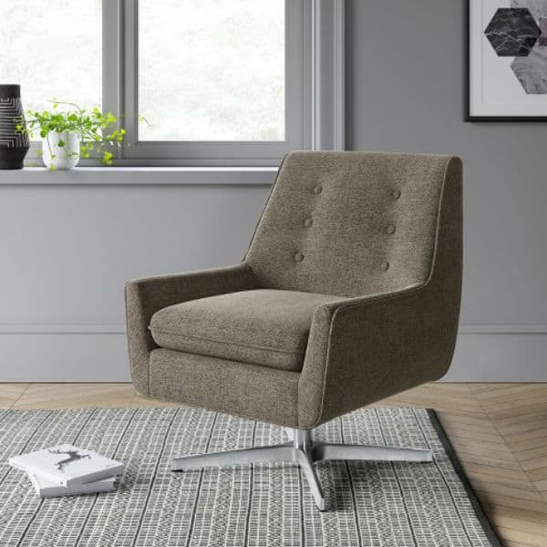 Image of Gleason Swivel Button Back Arm Accent Chair With Metal Base Brown - Project 62™