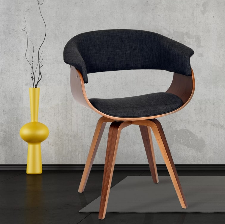 Image of Armen Living LCSUCHWACH Summer Chair in Charcoal Fabric and Walnut Wood Finish