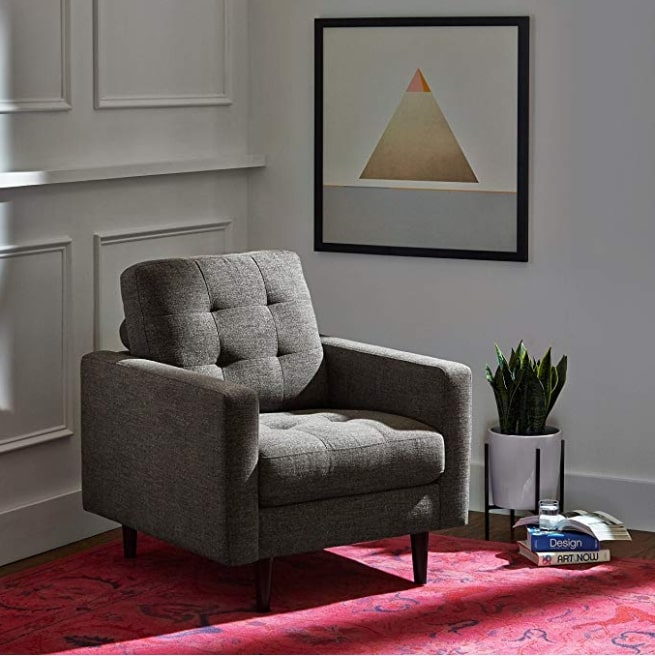 Image of Rivet Cove Mid-Century Tufted Accent Chair, Dark Grey