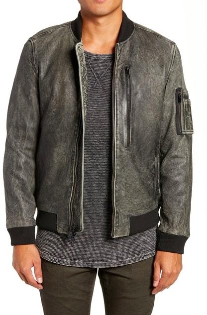 Image of HUDSON Jeans Leather Bomber Jacket