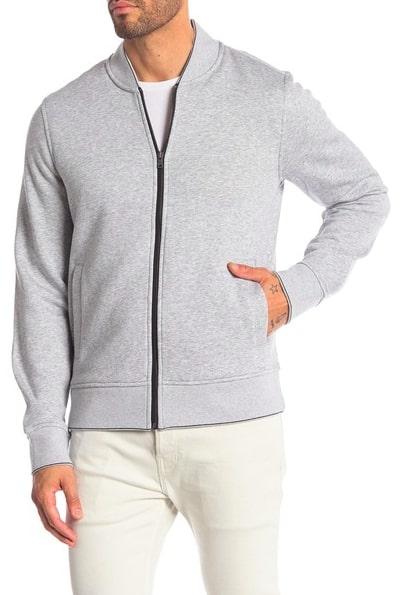 Image of Michael Kors Heathered Knit Fleece Zip Bomber Jacket