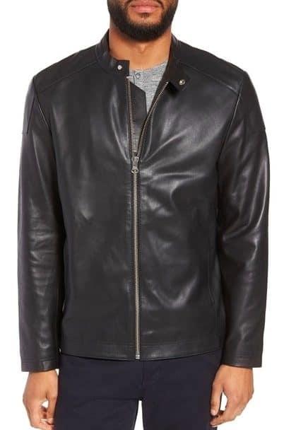 Image of Calibrate leather moto jacket