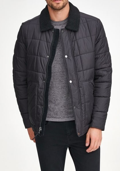 Image of Andrew Marc Brixton Faux Shearling Collar & Lined Quilted Jacket