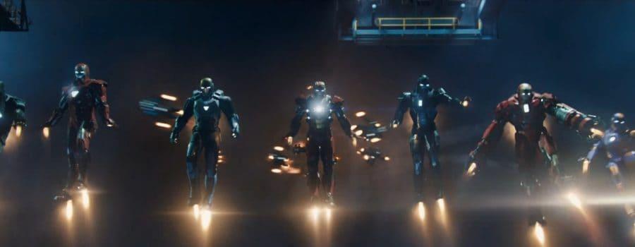 Multiple Iron Men flying