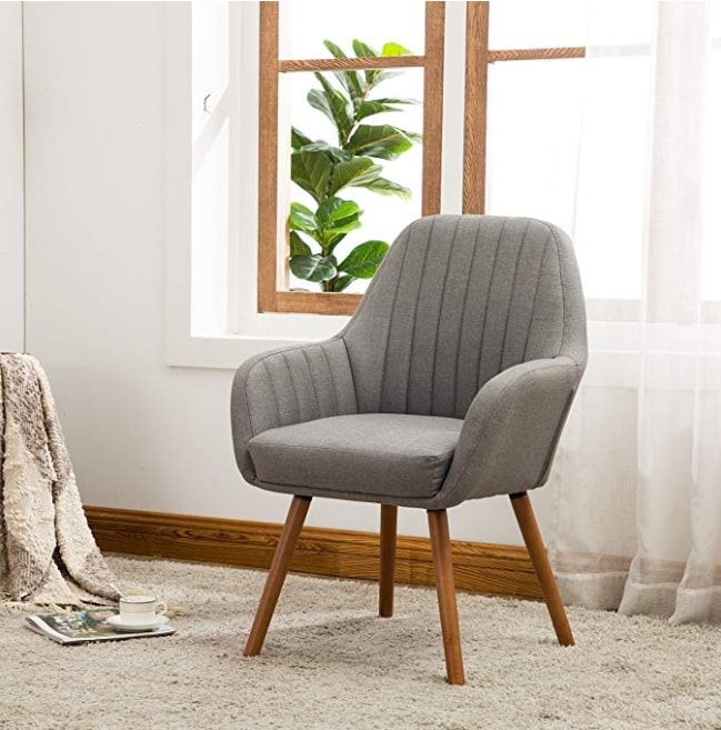 Image of Roundhill Furniture AC151GY Tuchico Contemporary Fabric Accent Chair Gray