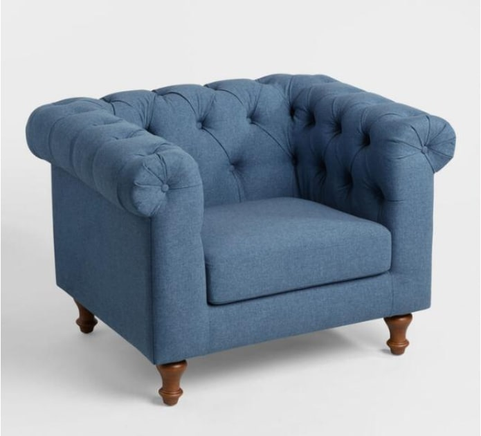 Image of Denim Blue Quentin Chesterfield Chair