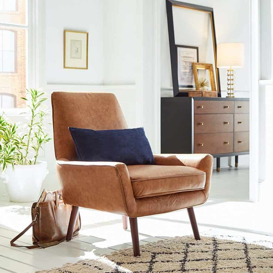 "Image of Rivet Jamie Mid Century Leather Low Arm Accent Chair, 31""W, Cognac"