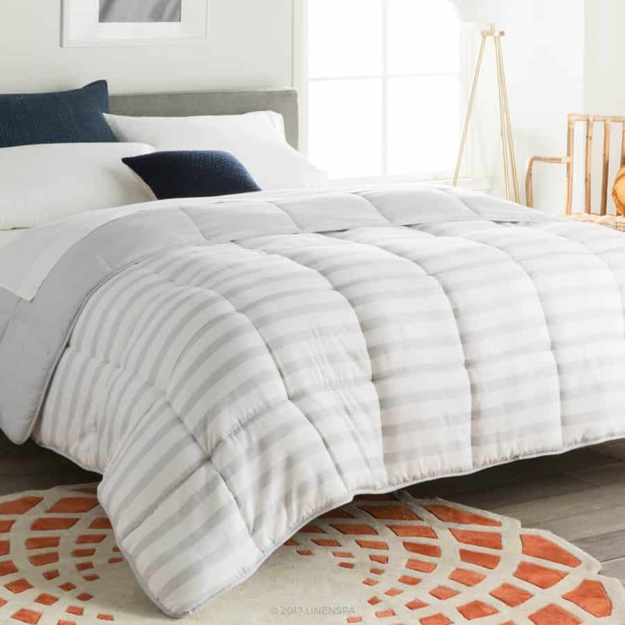 Image of Linenspa All Season Reversible Down Alternative Quilted Comforter   Hypoallergenic   Plush Microfiber Fill   Machine Washable   Duvet Insert or Stand Alone Comforter   Grey/White Stripe   Queen