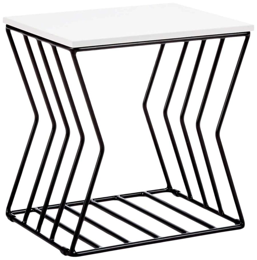 Image of Now House by Jonathan Adler Concave Grid Accent Table Black & White