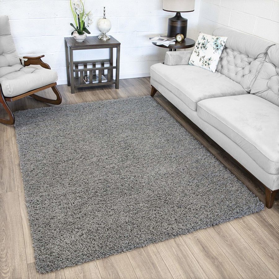 "Image of Ottomanson Soft Cozy Color Solid Shag Rug Contemporary Living and Bedroom Soft Shaggy Area Rug Kids Rugs (5'0"" X 7'0"", Grey)"