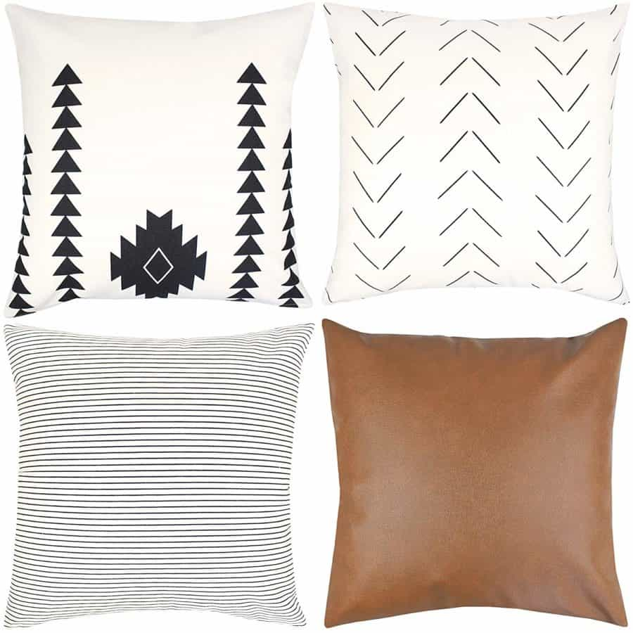 Image of Woven Nook Decorative Throw Pillow Covers ONLY for Couch, Sofa, or Bed Set of 4 18x18 20x20 and 22x22 inch Modern Design 100% Cotton Stripes Geometric Faux Leather Amaro Set (18'' x 18'')