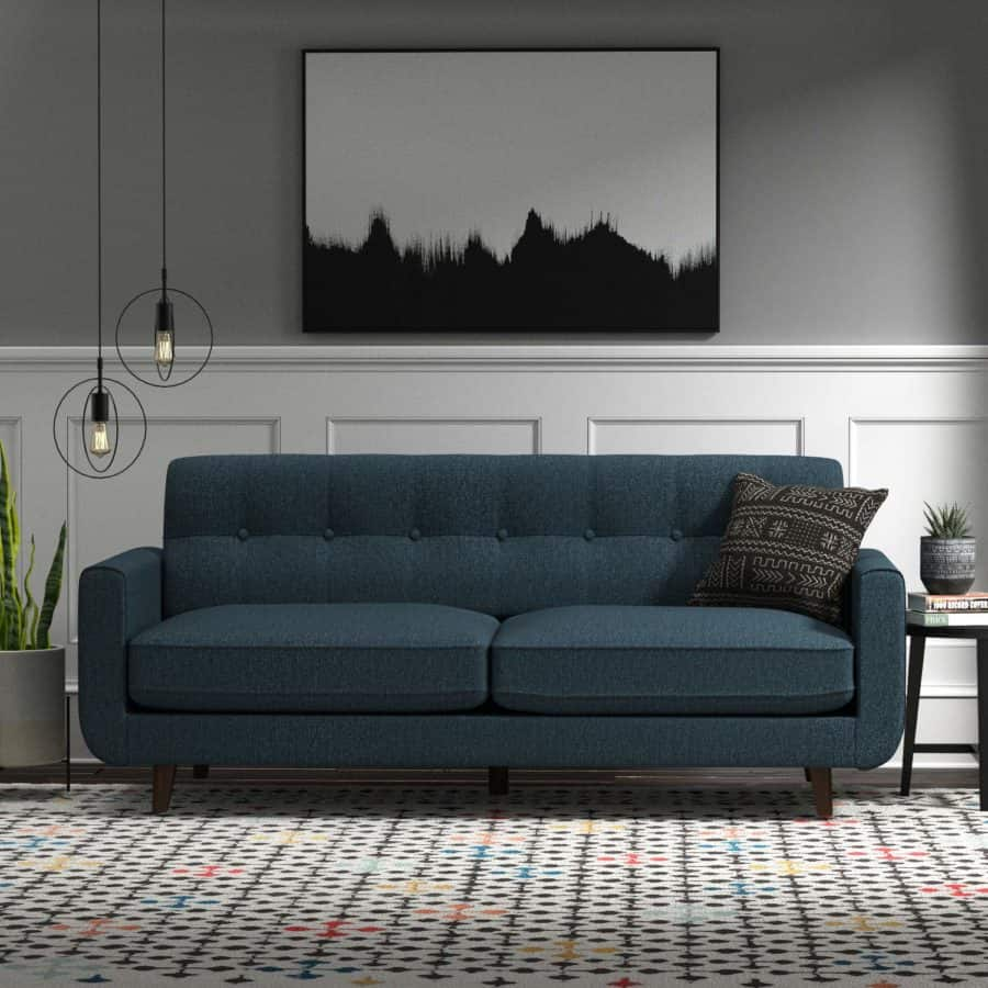 "Image of Rivet Sloane Mid Century Tufted Modern Sofa, 81""W, Blue"