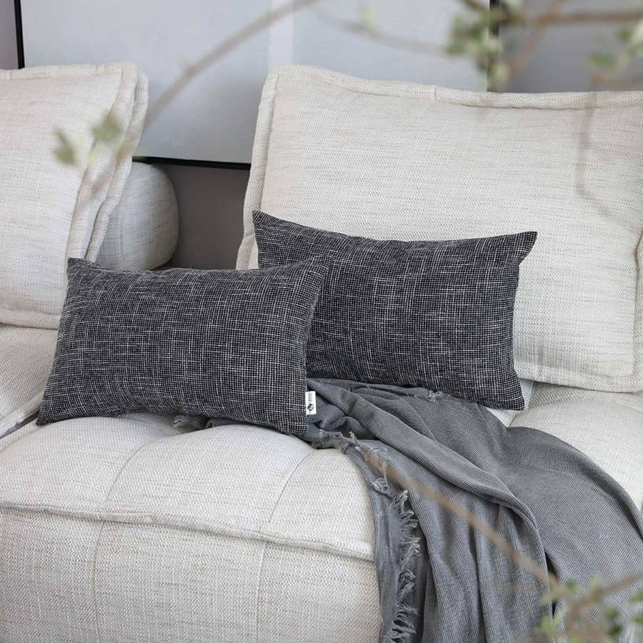 Image of Kevin Textile Faux Linen Square 2 Tone Woven Fine Throw Pillow Sham Cushion Case Covers for Car/Couch Use, 12x20 inch(2 Packs, Black)