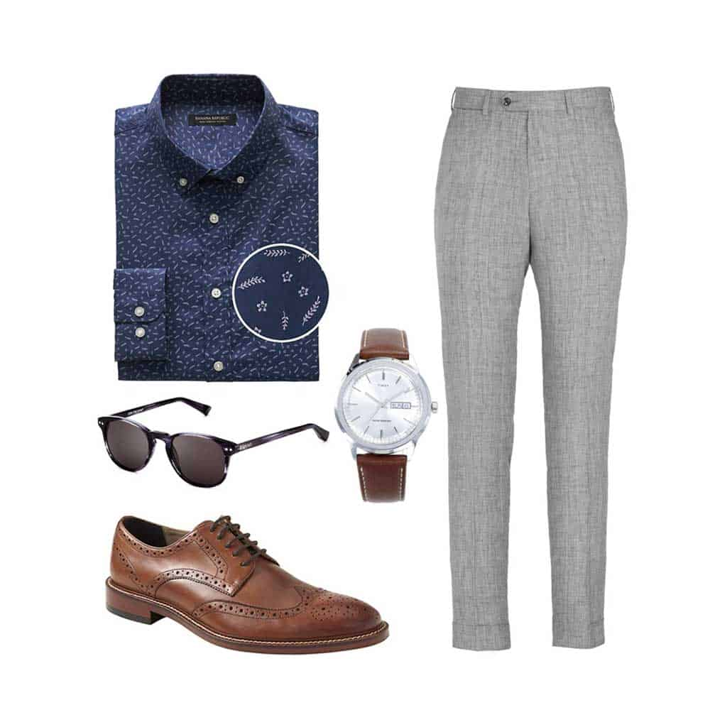 business casual outfit ideas spring patterend shirt wingtip