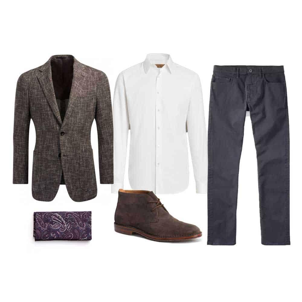 men spring work business casual blazer chukka
