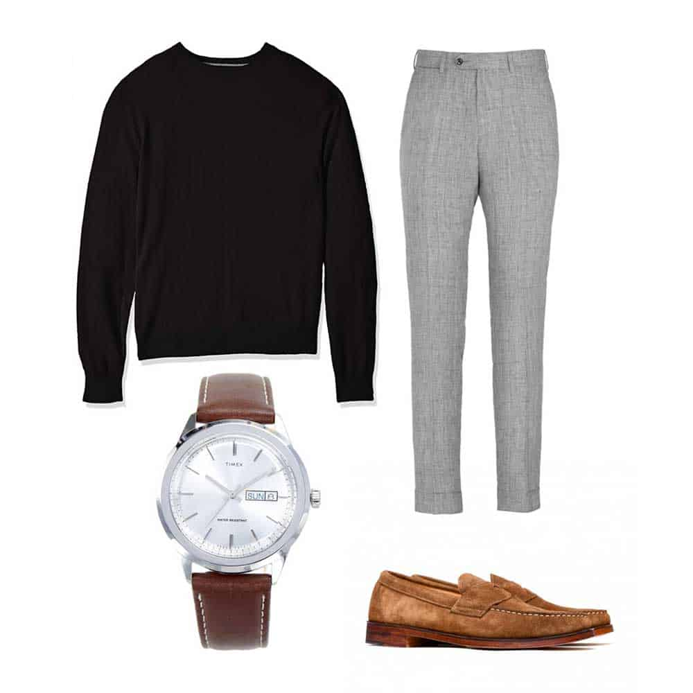 sweater and loafers outfit spring gray pants