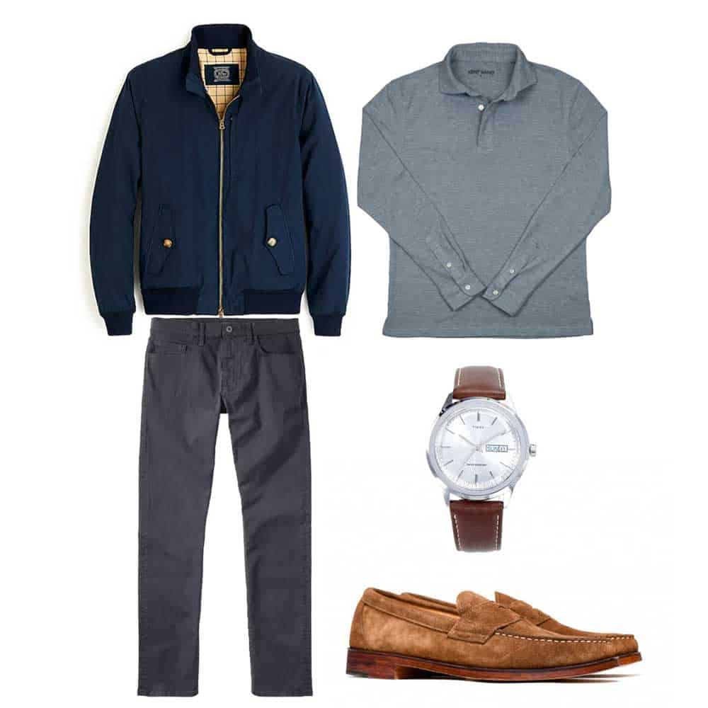 harrington jacket long sleeve polo loafers outfit spring