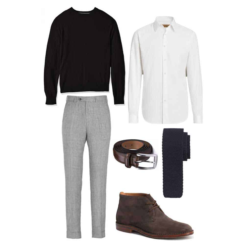 black sweater white shirt gray pants spring outfit men