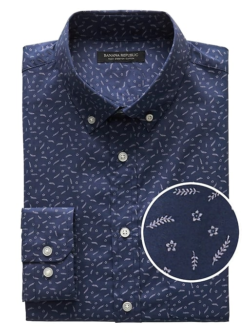 Image of Slim Fit Tech Stretch Cotton Shirt