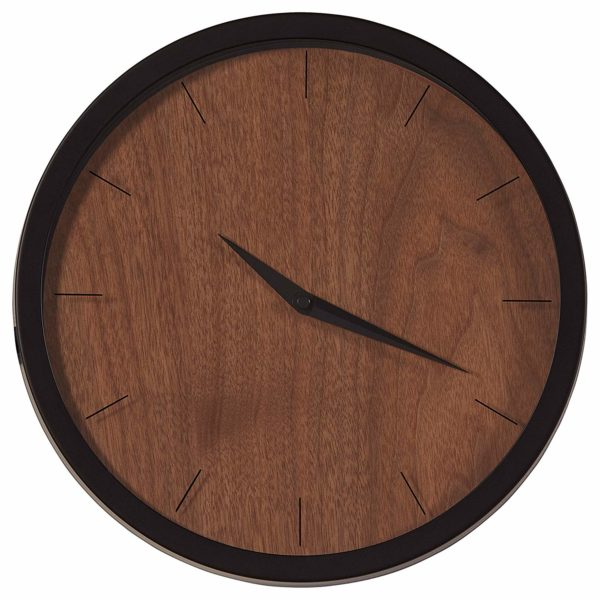 "Rivet Modern Minamalist Wood Face Clock, 12""H, Walnut"