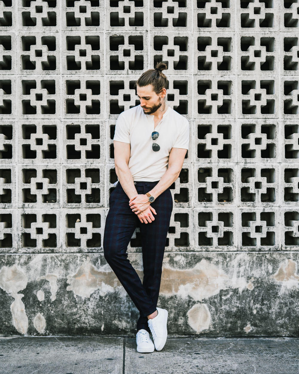 henley with dress pants smart casual trav white