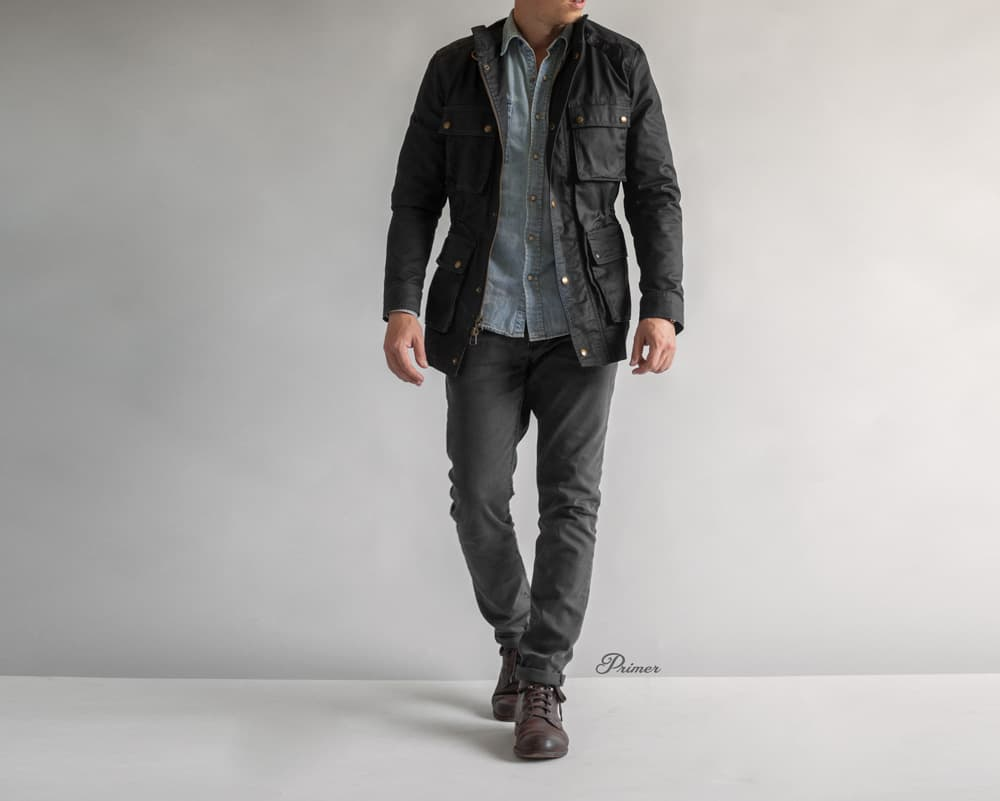 men spring casual outfit denim shirt gray jeans jacket