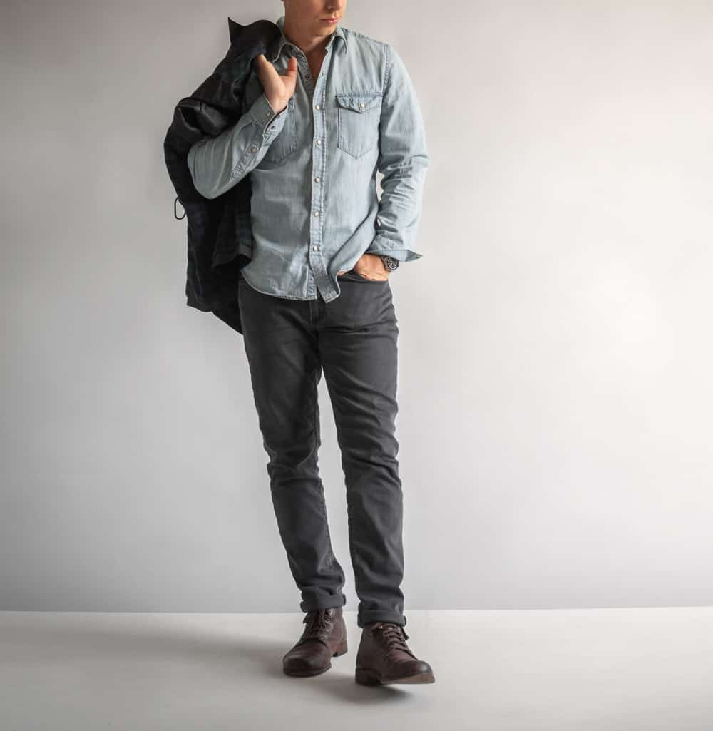 light denim shirt gray jeans men's fashion tips