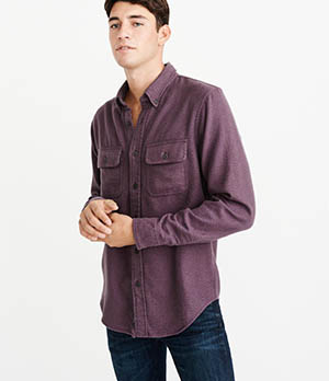 a&f solid flannel shirt