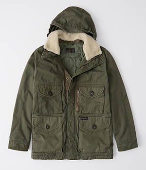 a&f removable sherpa combat jacket