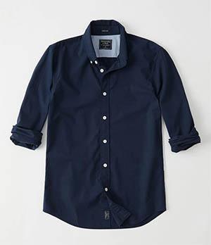 a&f super slim poplin shirt