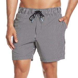 MICHAEL BASTIAN 4 Way Stretch Vertical Striped Swim Shorts