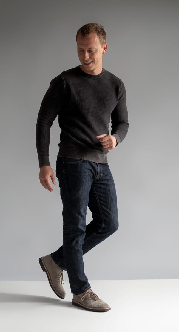 texture crew neck jeans desert boots