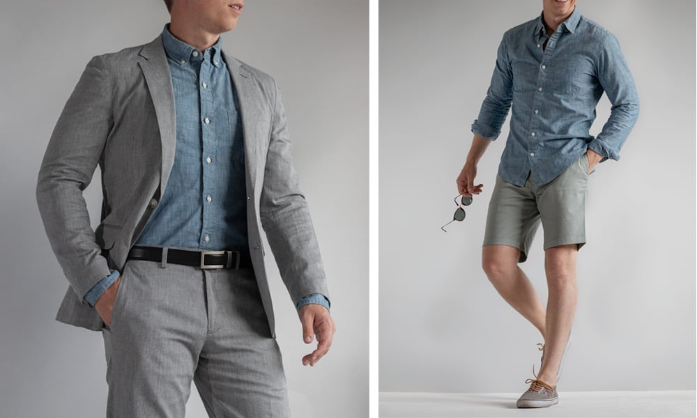 chambray shirt dressed up and casual with shorts
