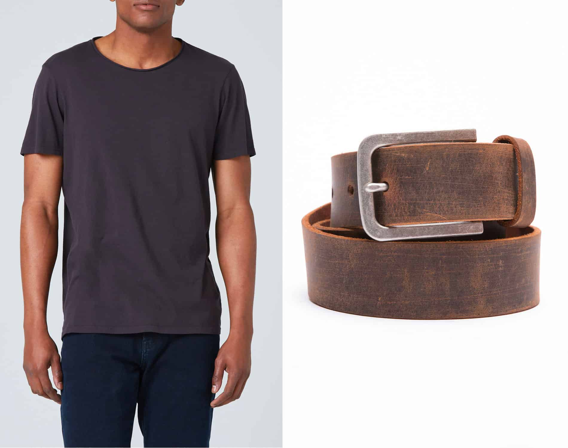 DSTLD tshirt and leather belt