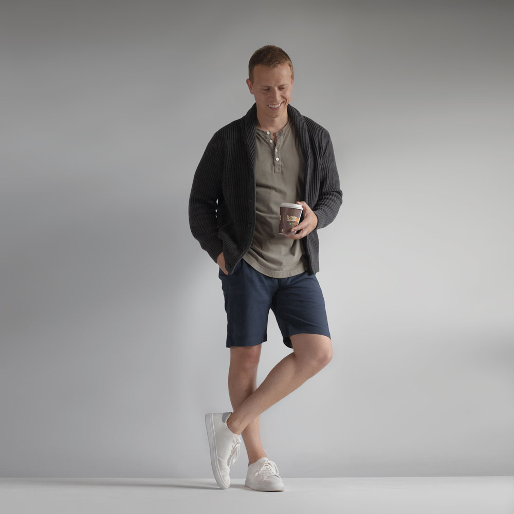 shawl collar cardigan shorts summer outfit men