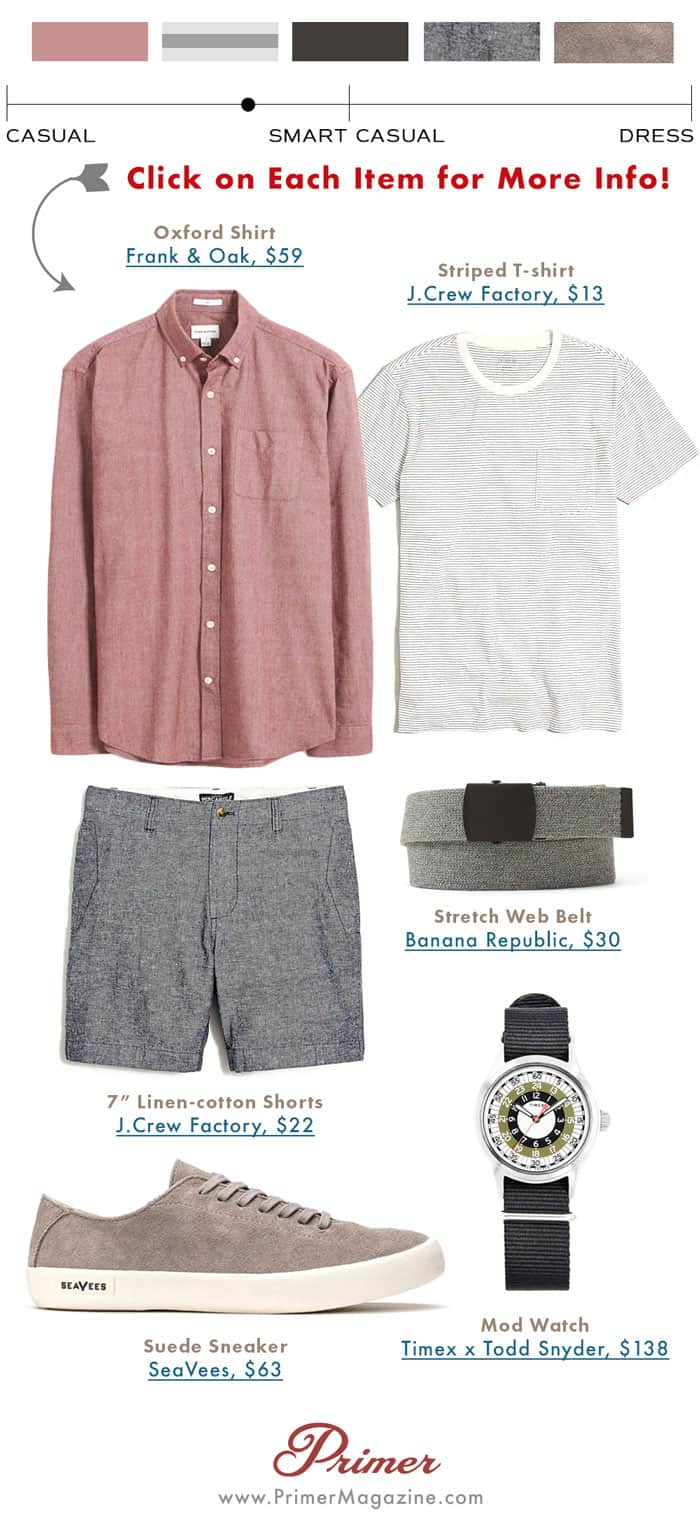 men smart casual shorts summer outfit - the getup