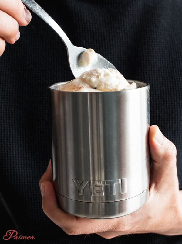 eat ice cream out of an insulated mug